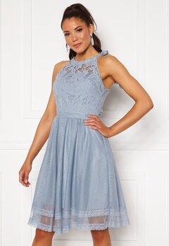 VILA Zinna New S/L Dress Ashley Blue Bubbleroom.dk