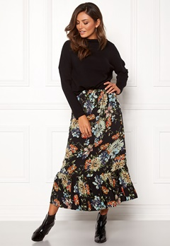Sisters Point Vota Skirt 001 Black/Flower Bubbleroom.dk