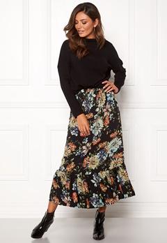 Sisters Point Vota Skirt 001 Black/Flower Bubbleroom.dk