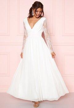 Y.A.S Adela LS Maxi Dress Star White Bubbleroom.dk