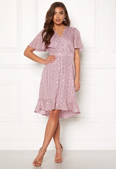 Y.A.S Dawny S/S Dress Dawn Pink W Gold Bubbleroom.dk