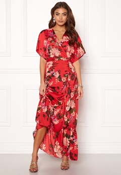 Y.A.S Jungle S/S Maxi Dress High Risk Red Bubbleroom.dk