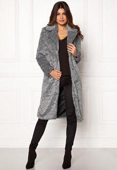Y.A.S Pala Faux Fur Coat Dark Grey Melange Bubbleroom.dk