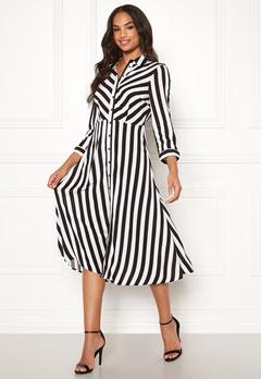Y.A.S Savanna SS Midi Dress Star White, Stripes Bubbleroom.dk