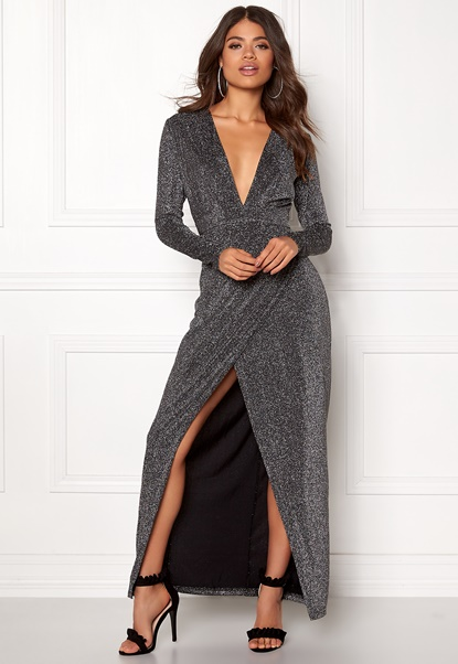 Girl In Mind Plunge V Neck Wrap Dress Black/silver Bubbleroom.dk