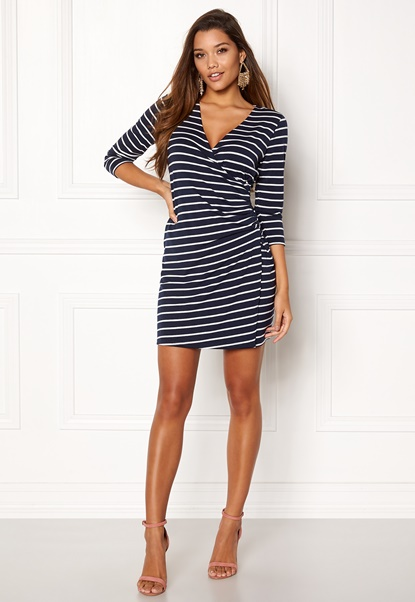 Happy Holly Alena dress Navy / Striped Bubbleroom.dk