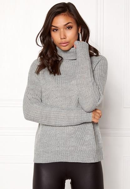 Jacqueline de Yong Justy L/S Pullover Light Grey Melange Bubbleroom.dk