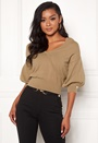 Cameo knitted puff sleeve sweater
