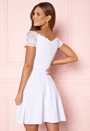 Short Sleeve Lace Trim Skater Dress