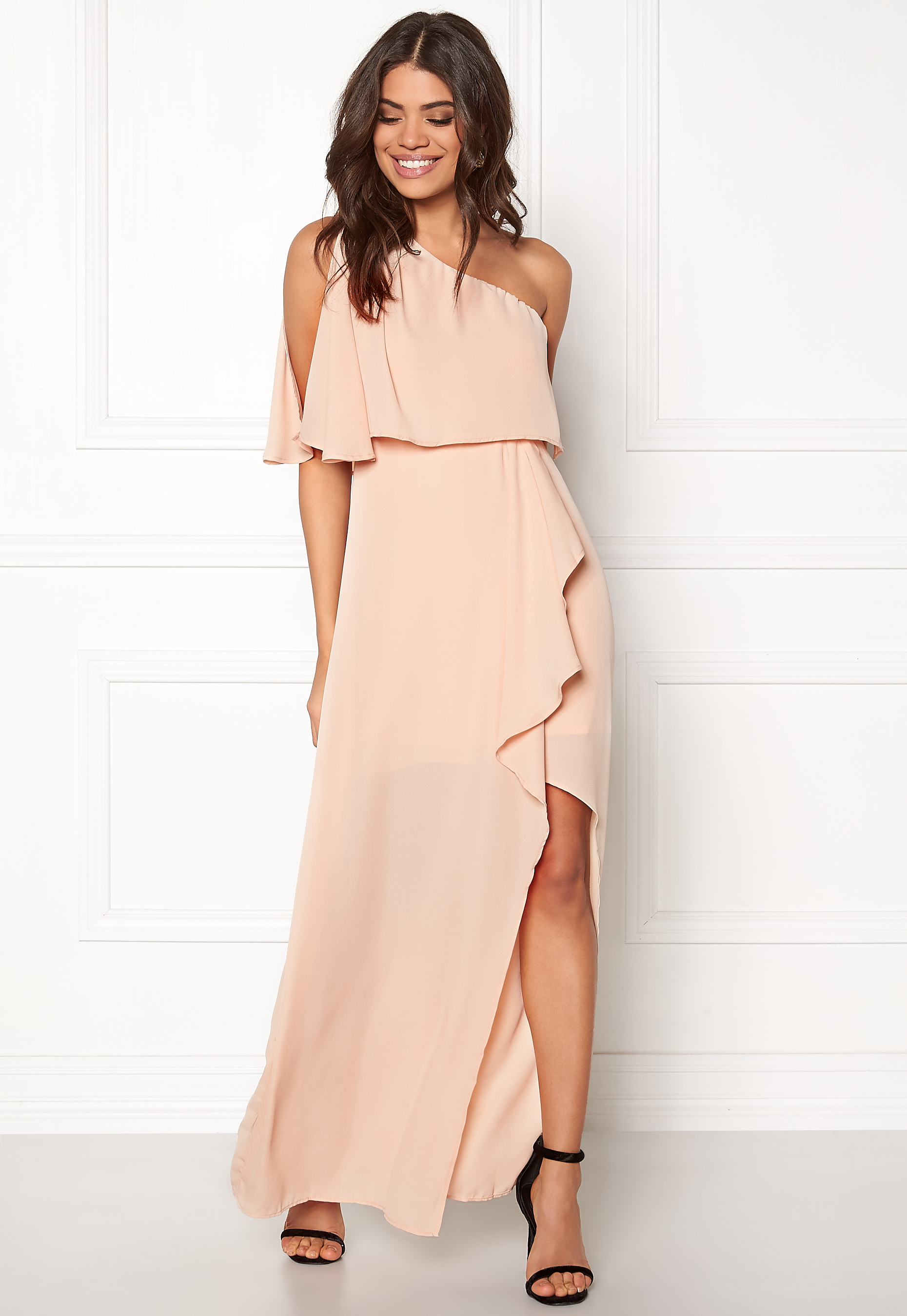 6af3535e AX Paris One Shoulder Maxi Dress Nude - Bubbleroom