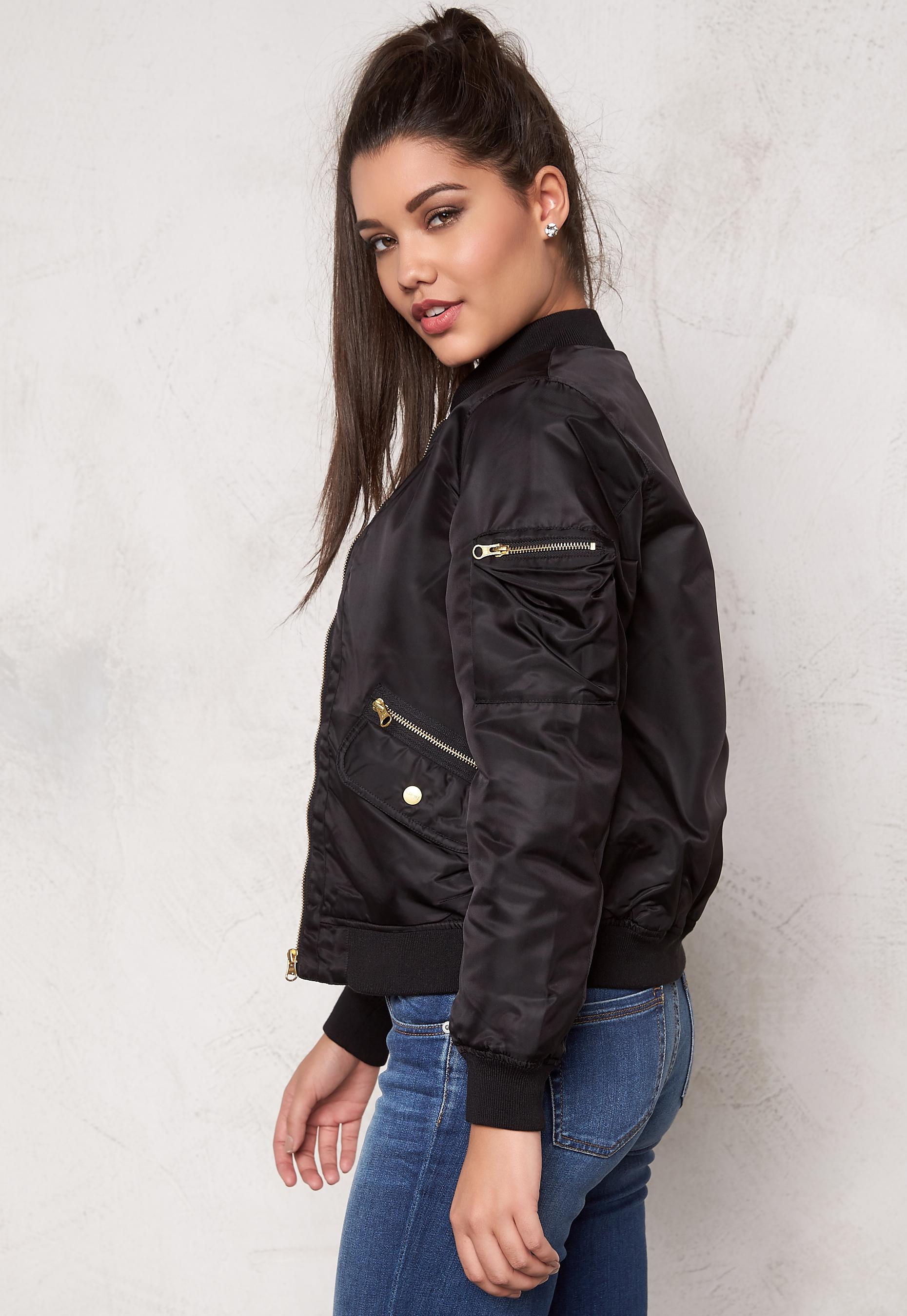 D.Brand Golden Zip Bomber Jacket Black Bubbleroom