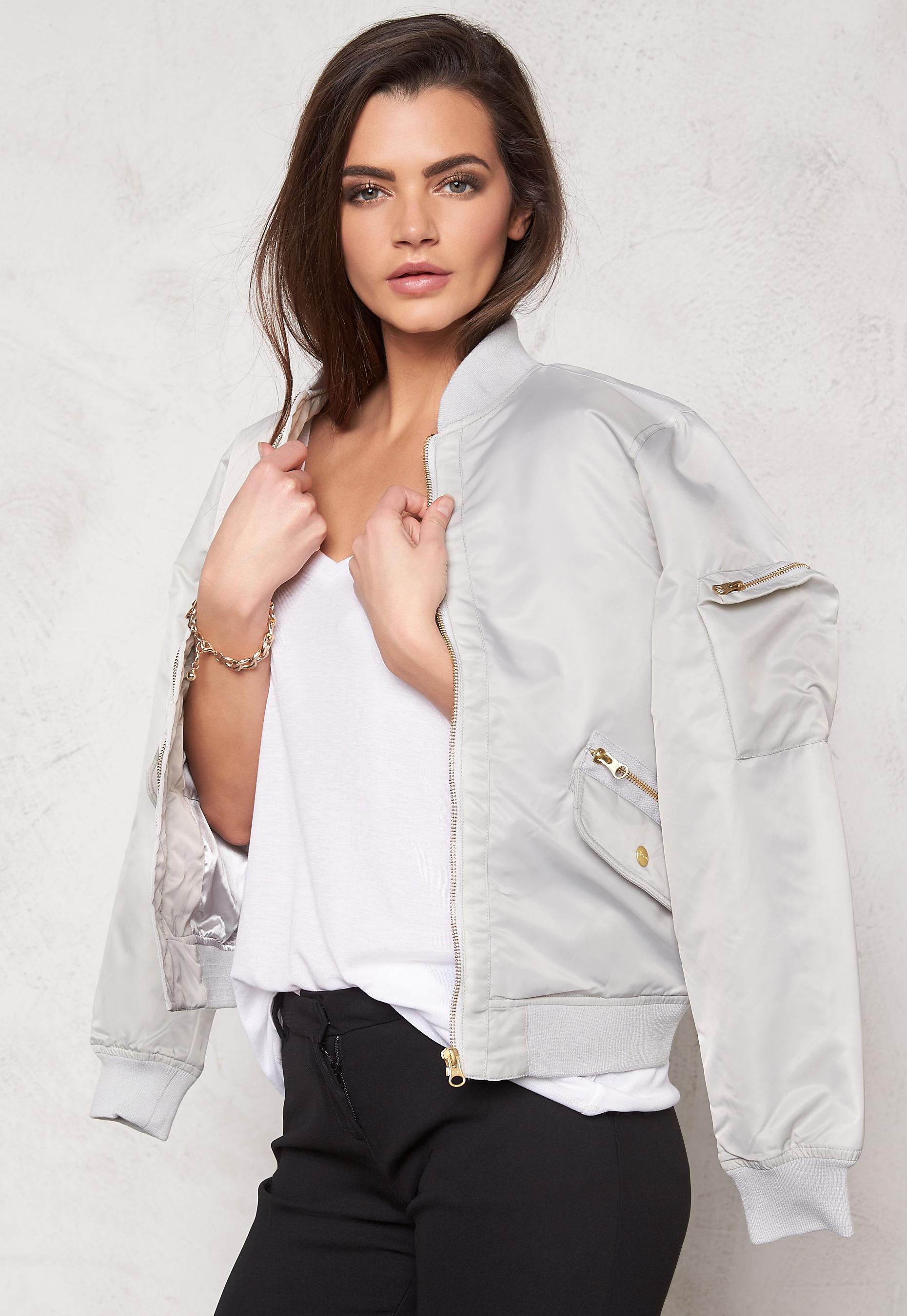 D.Brand Golden Zip Bomber Jacket Grey Bubbleroom