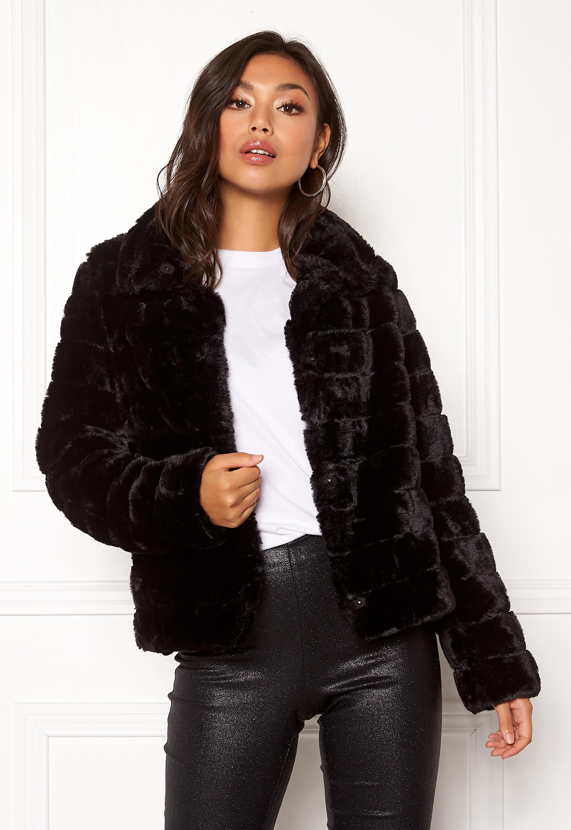 6ea0d805 VILA Farry Faux Fur Jacket Black - Bubbleroom