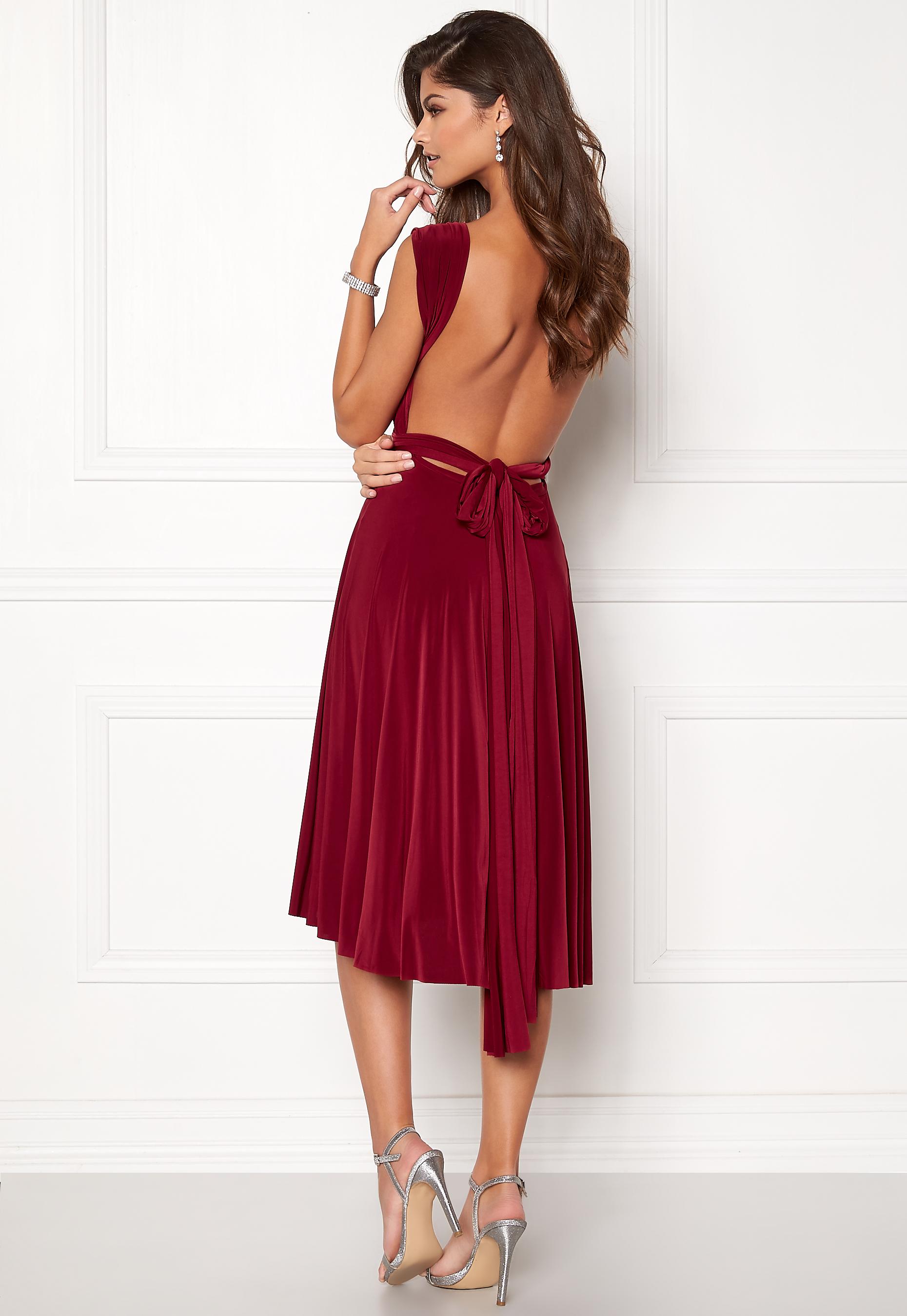 344403f3 Goddiva Multi Tie Midi Dress Berry - Bubbleroom
