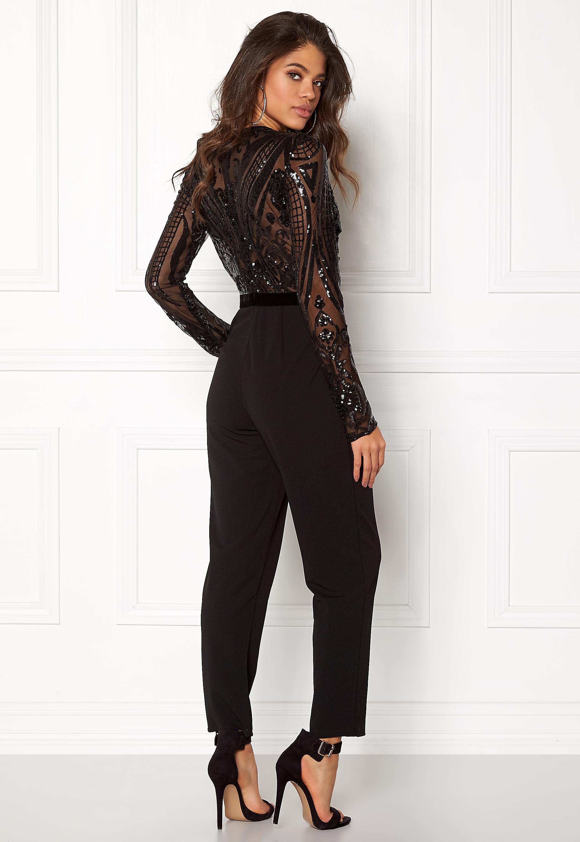 a9ca189cf58c Goddiva Sequin Bodice Jumpsuit Black - Bubbleroom
