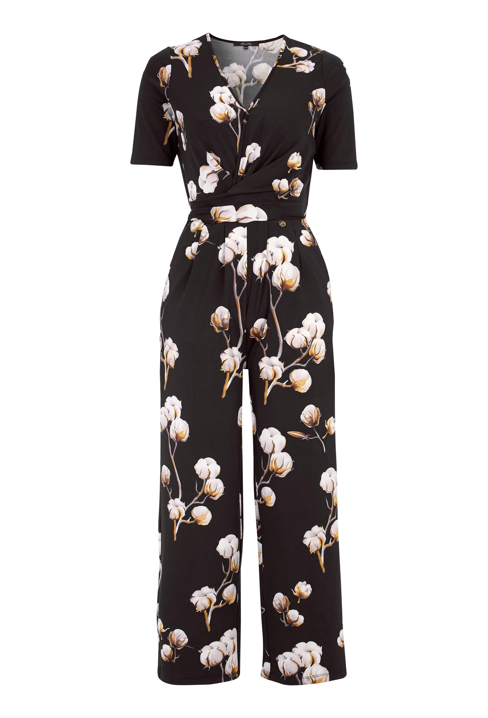 b0444a327c21 Happy Holly Iman ss jumpsuit Black   Patterned - Bubbleroom