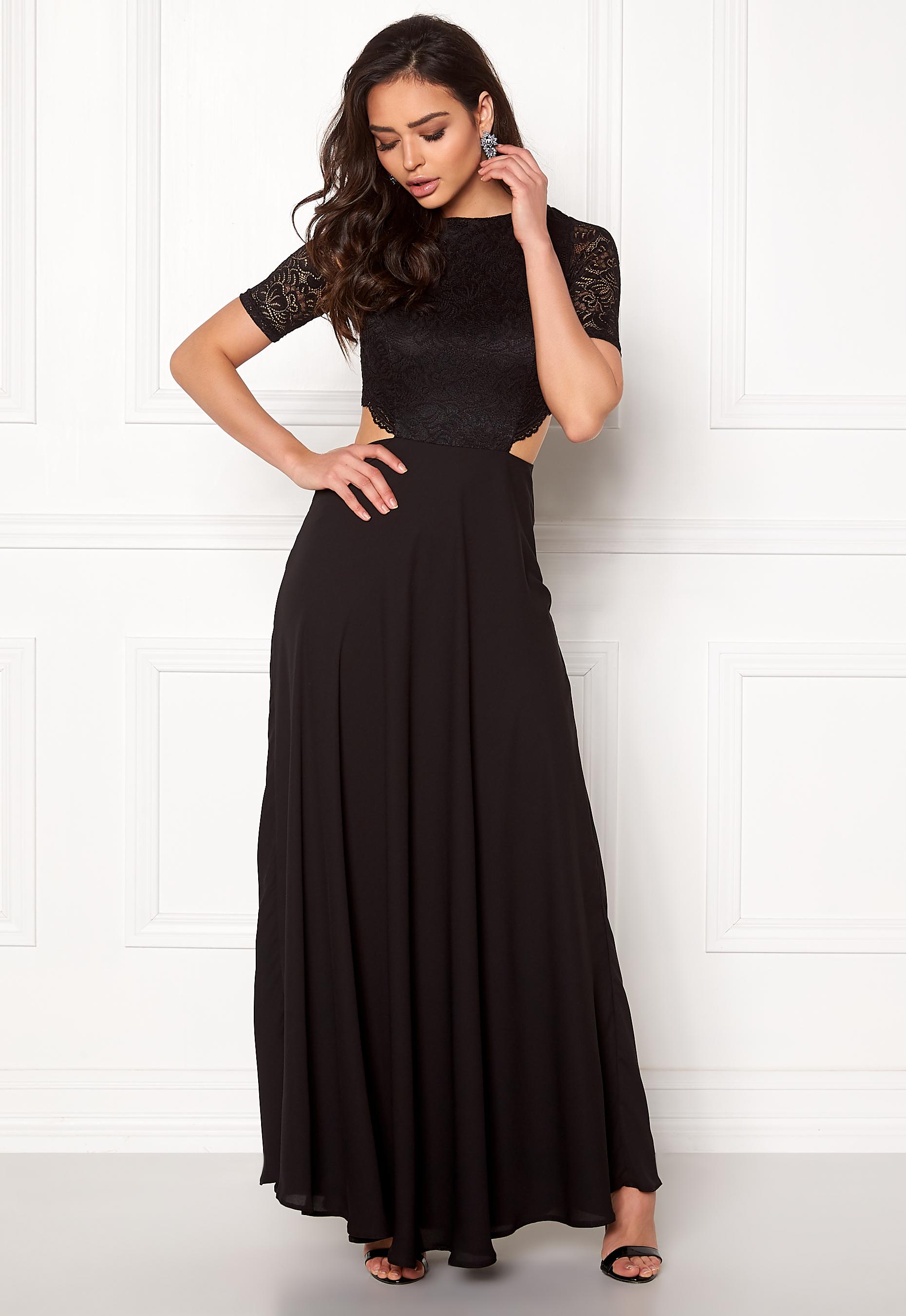 9544f1ee John Zack Open Back Lace Maxi Dress Black - Bubbleroom