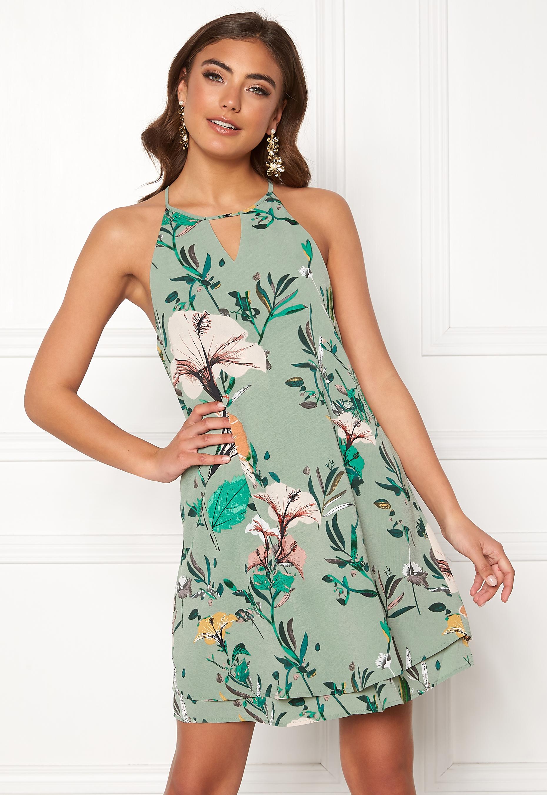 2712925cde22 ONLY Mariana Myrina S L Dress Granite Green AOP - Bubbleroom