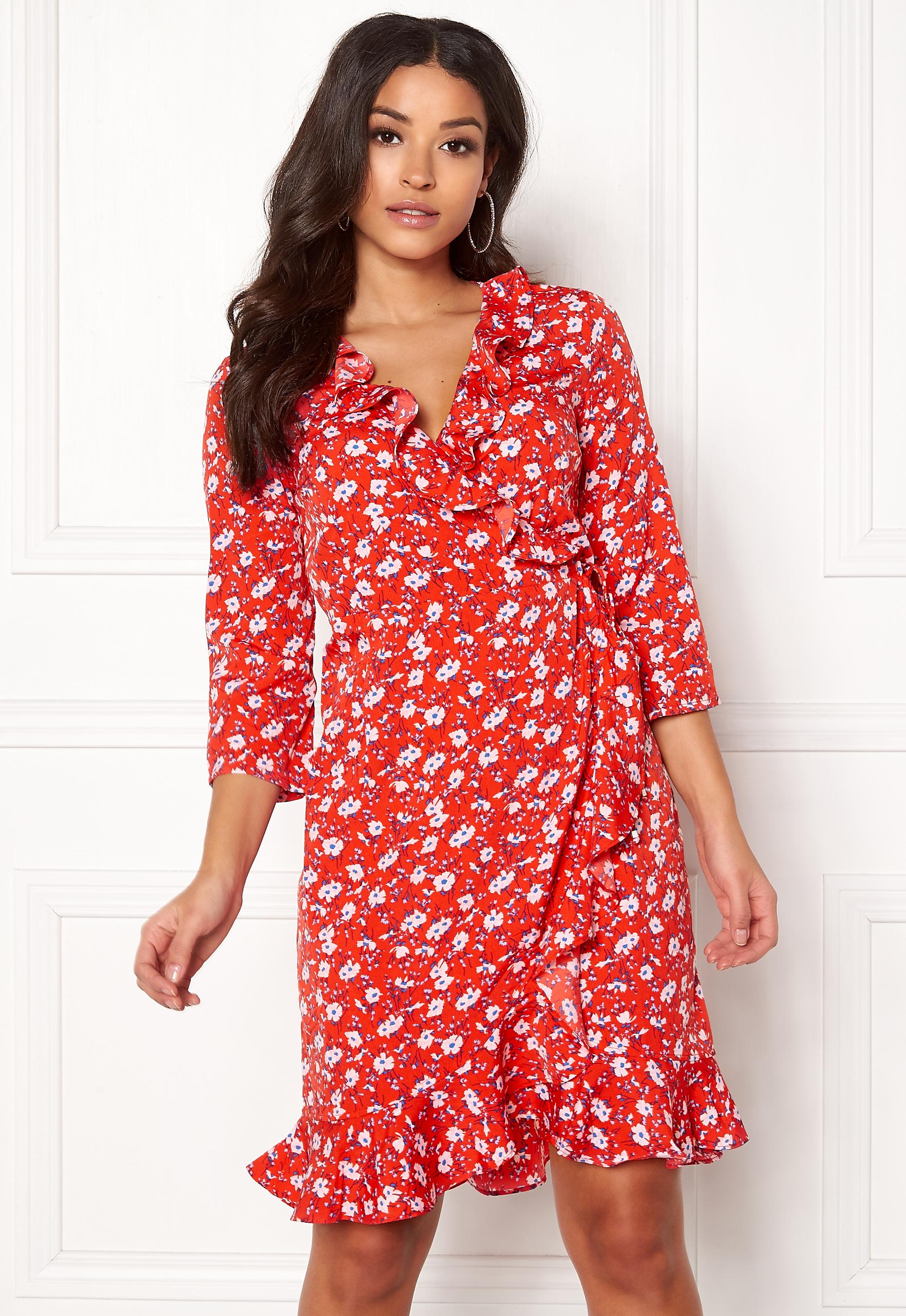 ed691fd1192 VERO MODA Molly Poly 3/4 Wrap Dress Poppy Red - Bubbleroom