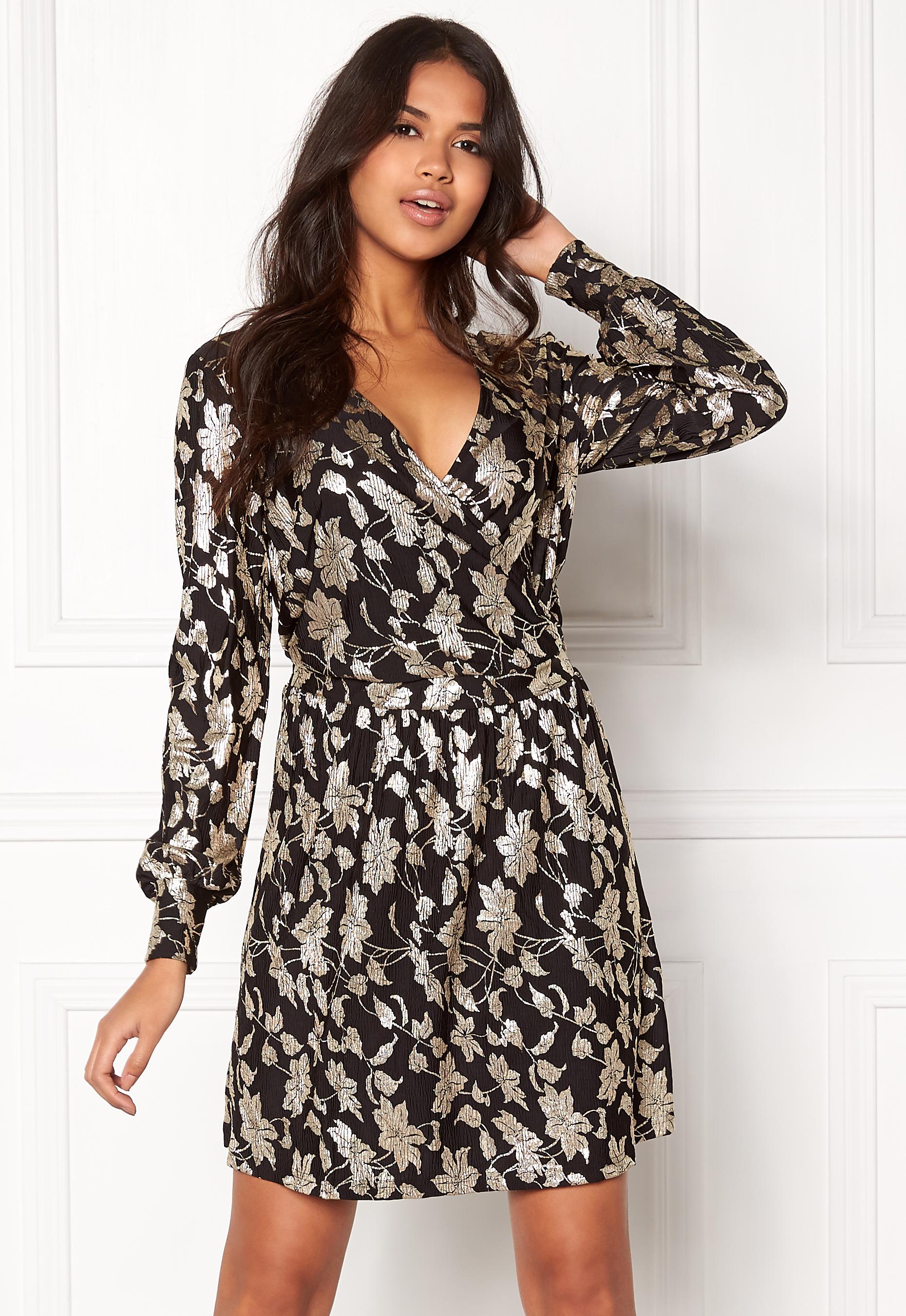 bff7776c1b2f VERO MODA Romeo LS Wrap Short Dress Black - Bubbleroom
