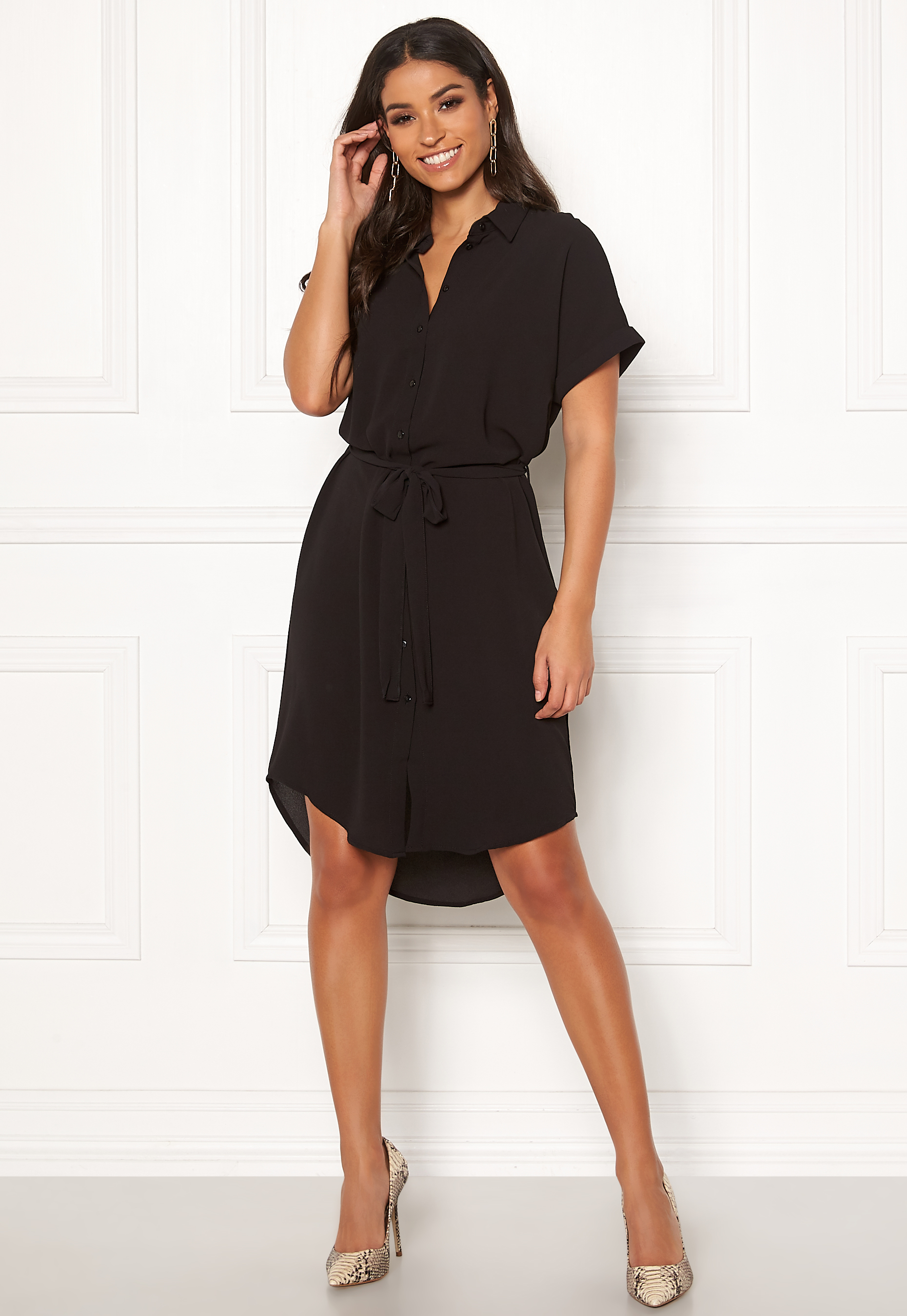 1d23cccb9 VERO MODA Sasha Shirt SS Dress Black - Bubbleroom