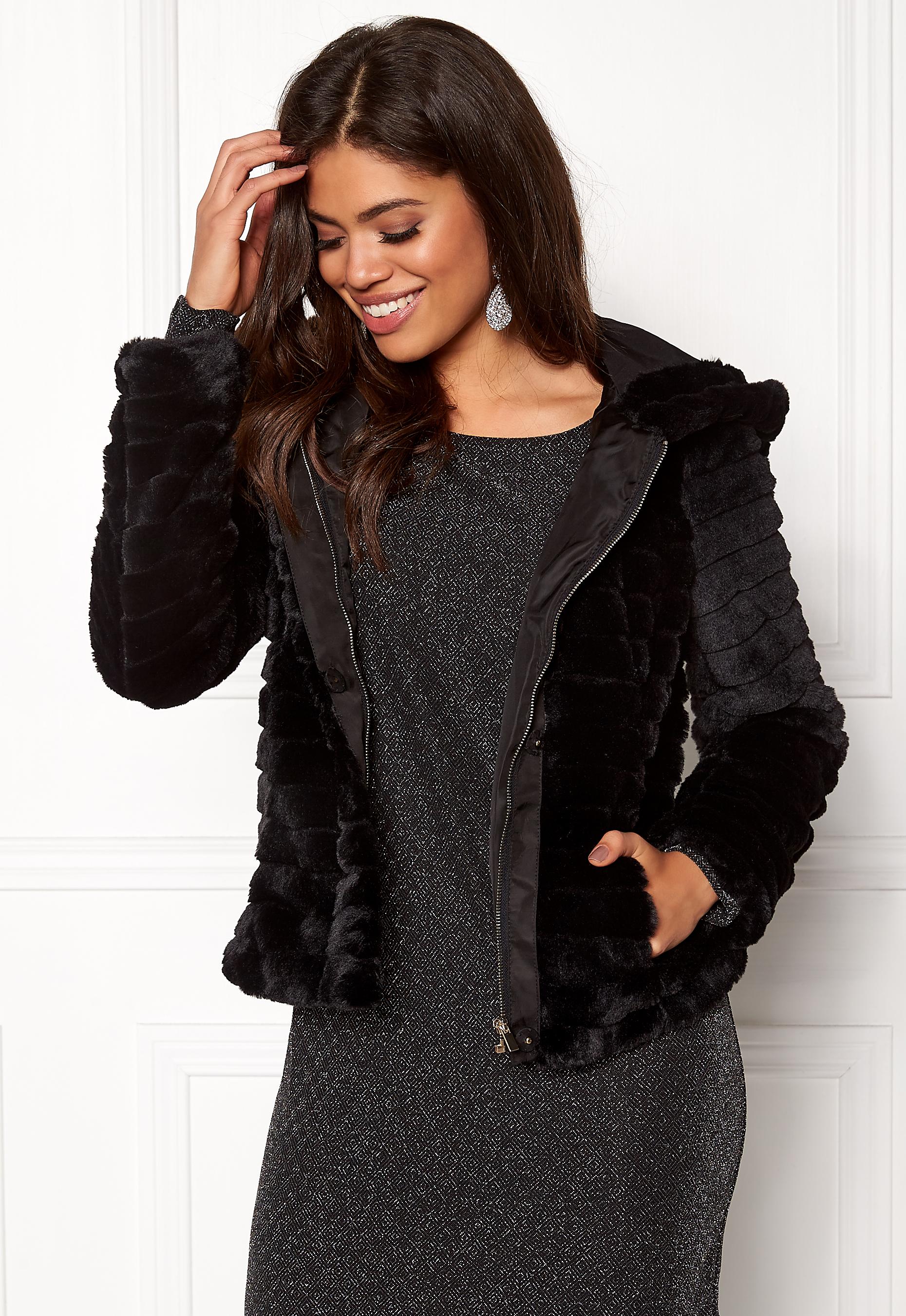 bb515ccd VILA Maya Faux Fur Jacket Black - Bubbleroom