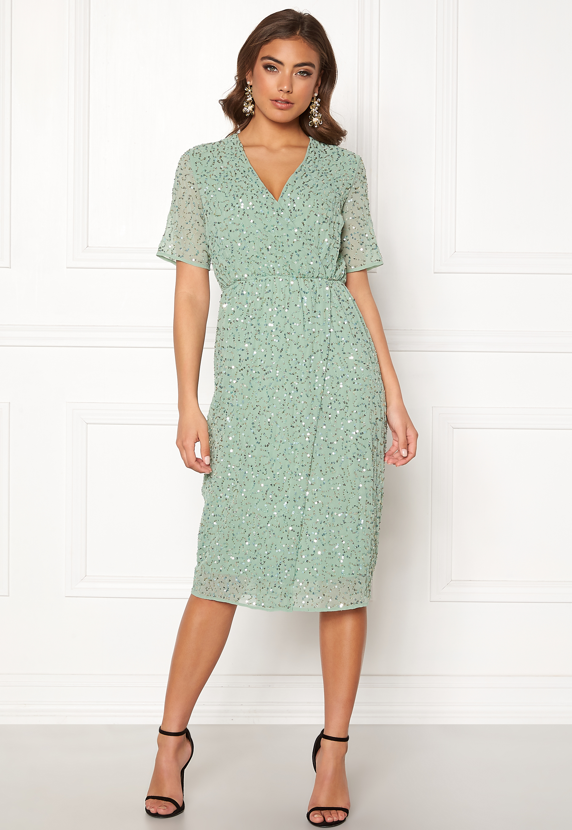 9bf9015b Y.A.S Beado Sequin S/S Dress Granite Green - Bubbleroom